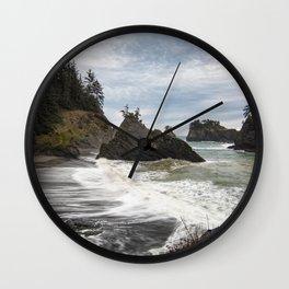 Secret Beach on Overcast Day Wall Clock