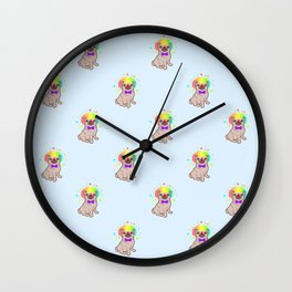 Pug dog in a clown costume pattern Wall Clock