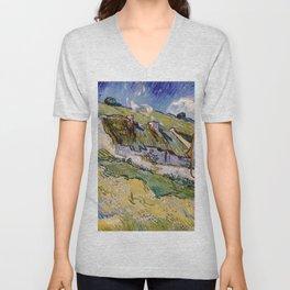 """Vincent van Gogh """"Cottages"""" Unisex V-Neck"""