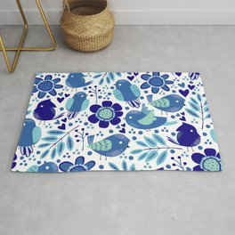 Blue Cute Little Birds And Flowers Pattern  Rug