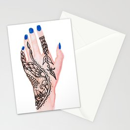 Modern watercolor hand  floral henna tattoo blue nails Stationery Cards