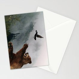 The Trickster - Raven & Grizzly Bear Art Print Stationery Cards