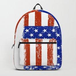 Distressed US flag grunge look Backpack