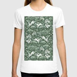 Hares Field, Jumping Rabbits Winter Holidays Pattern, Green White T-shirt