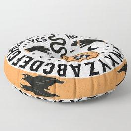 Orange And Black Modern Ouija Board With Ravens Floor Pillow