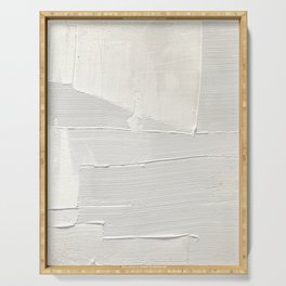 Relief [1]: an abstract, textured piece in white by Alyssa Hamilton Art Serving Tray