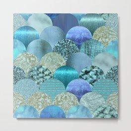 Blue Turquoise Glamour Mermaid Pattern Metal Print