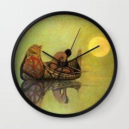 "N C Wyeth Vintage Western Painting ""Fishing Line"" Wall Clock"