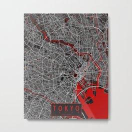 Tokyo City Map of Japan - Oriental Red Metal Print