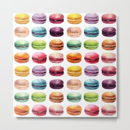 Macaroons in pop color. Delicious French Desserts. Metal Print