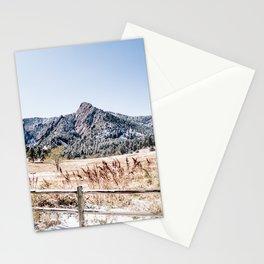 Flatirons Boulder // Colorado Scenery Mountain Landscape Snowfall Fence Line Stationery Cards