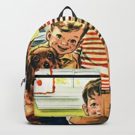 Vintage Illustration of Three Kids Backpack
