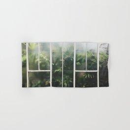 Hot House Window with Jungle of Palms Photograph Hand & Bath Towel