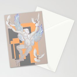 Abstract Angel With Birds Grey Art Stationery Cards