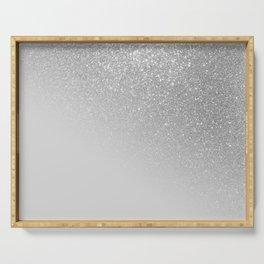 Diagonal Gray Silver Glitter Gradient Ombre Serving Tray