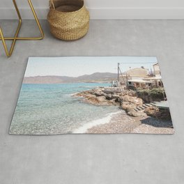 Beach Landscape In Greece Photo | Turquoise Blue Sea Art Print | Europe Travel Photography Rug