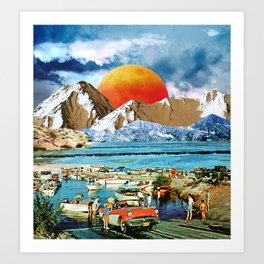 Orange moonset beach Art Print