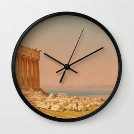 Ruins of the Parthenon Oil Painting by Sanford Robinson Gifford Wall Clock