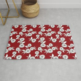 Retro roses on a red background . Rug