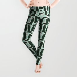 Hunter Green Wellington Welly Boots with Bluebell Flowers on Pastel Aqua Streaky Stripes Leggings
