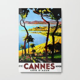 Cannes Travel Poster Metal Print