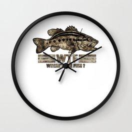 Funny Bass Fishing Camo WTF Where's The Fish product Wall Clock