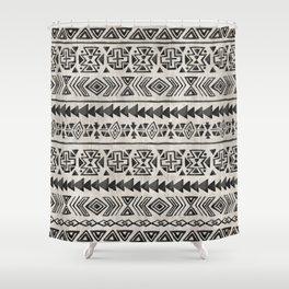 Boho Tribal Black & Cream, Geometric Print, Ink Tribal Decor Shower Curtain