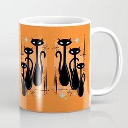 Effervescent Orange Atomic Age Black Kitschy Cat Trio Coffee Mug