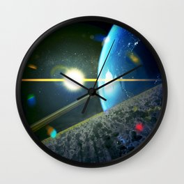 until the moon is no more. Asteroid Field on Earth Wall Clock