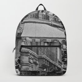 Le Dome Cafe, Paris - Hemingway's Favorite Haunt black and white photograph Backpack
