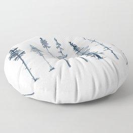 Navy Trees Silhouette Floor Pillow