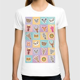 funny animals muzzle pattern with pink lilac blue orange square T-shirt