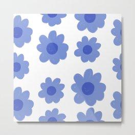 Hand Drawn Blue Flowers  Metal Print