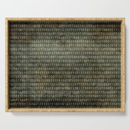 The Binary Code - Distressed textured version Serving Tray