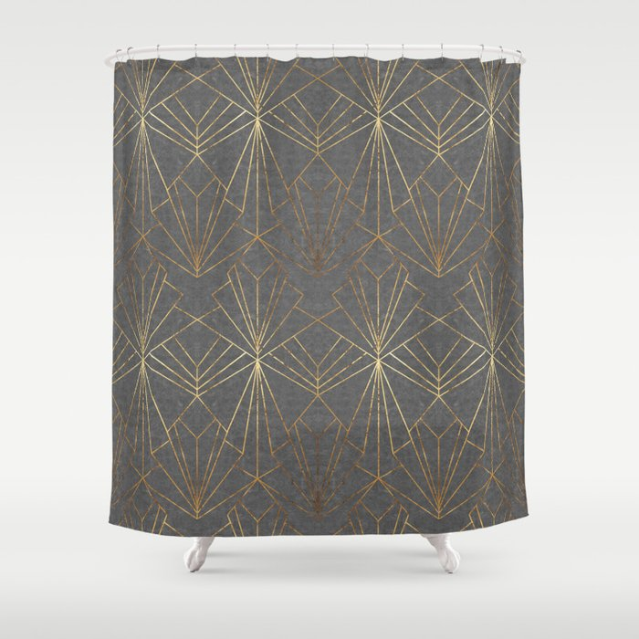 art deco in gold grey shower curtain by wellingtonboot