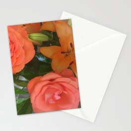 orange Lilies and roses Stationery Cards