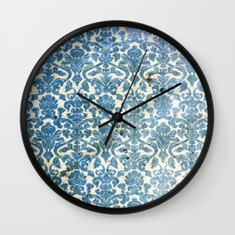 Vintage Antique Blue Wallpaper Pattern Wall Clock