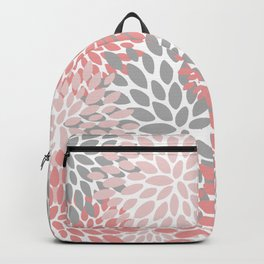 Floral Pattern, Coral Pink and Gray Backpack