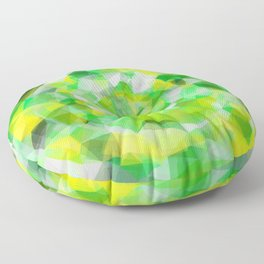 geometric polygon abstract pattern in green and yellow Floor Pillow