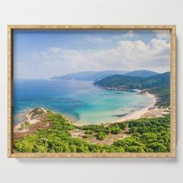 The beaches Mandraki, Elias and Agistros of Skiathos island from drone view, Greece Serving Tray