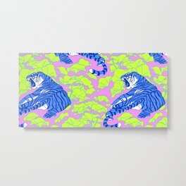 Neon Tigers and Water Lillies. Metal Print