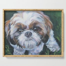 SHIH TZU dog art portrait from an original painting by L.A.Shepard Serving Tray