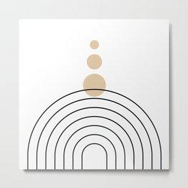 Mid Century Modern Geometric 35 (Rainbow and Rain, Black and Beige) Metal Print