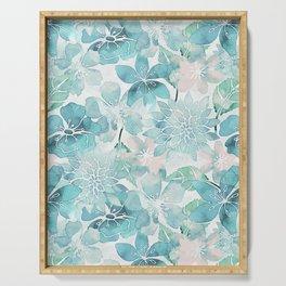 Blue green watercolor flower pattern Serving Tray