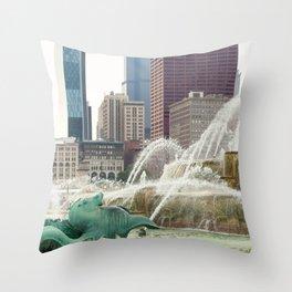 Buckingham Fountain - Chicago Photography Throw Pillow
