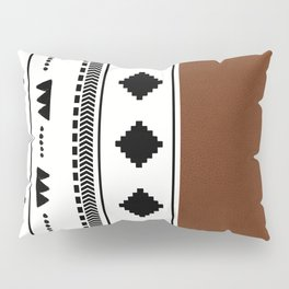 Southwestern white with faux leather texture Pillow Sham