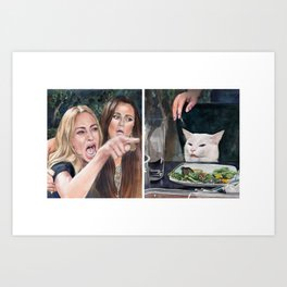 Woman Yelling at Cat Meme-3 Art Print