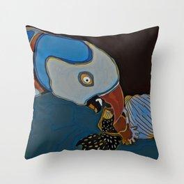 Parrot Pecking the Seeds Away Throw Pillow