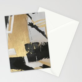 Gold leaf black abstract Stationery Cards