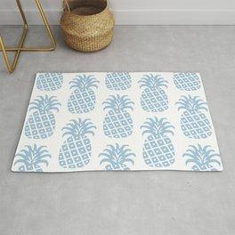 Retro Mid Century Modern Pineapple Pattern Pale Blue Rug
